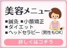 美容メニュー(鍼灸・小顔矯正・ダイエット・ヘッドセラピー)